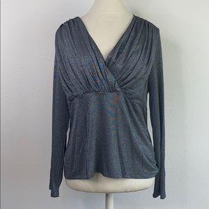 Harolds gray silver shimmer blouse, XL